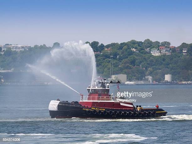 NYC Fleet Week 2016, FDNY Boat is Shooting Water.