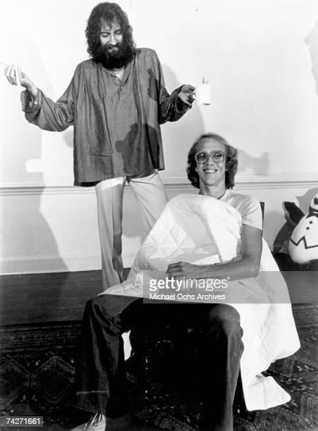Fleetwood Mac guitarist Bob Welch and drummer Mick Fleetwood pose for a portrait circa 1973 in Los Angeles California
