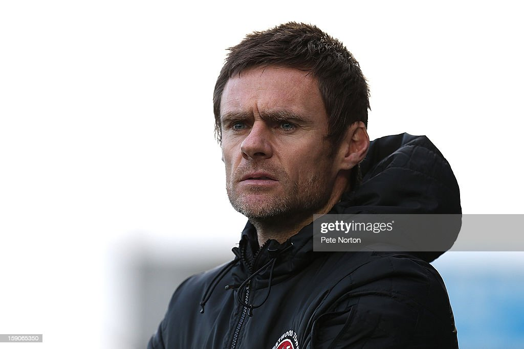 Fleetwood Town manager <a gi-track='captionPersonalityLinkClicked' href=/galleries/search?phrase=Graham+Alexander&family=editorial&specificpeople=645582 ng-click='$event.stopPropagation()'>Graham Alexander</a> looks on during the npower League Two match between Northampton Town and Fleetwood Town at Sixfields Stadium on January 5, 2013 in Northampton, England.