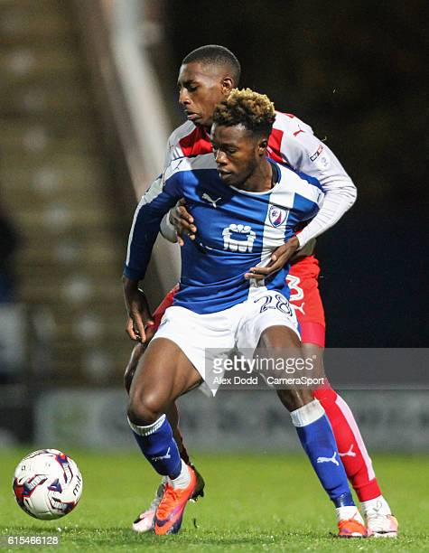 Fleetwood Town's Amari'i Bell vies for possession with Chesterfield's Gboly Ariyibi during the Sky Bet League One match between Chesterfield and...