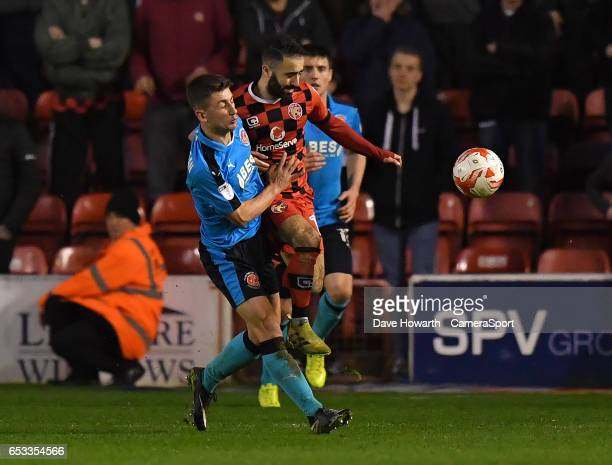 Fleetwood Town's Cameron Brannagan battles for the ball during the Sky Bet League One match between Walsall and Fleetwood Town at Banks' Stadium on...