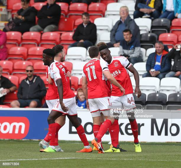 Fleetwood Town's Devante Cole celebrates scoring his and his side's second goal with teammate Bobby Grant during the Sky Bet League One match between...