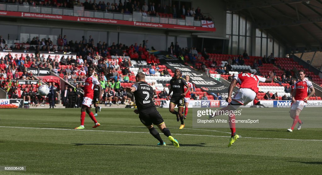 Fleetwood Town's Devante Cole scores the opening goal during the Sky Bet League One match between Fleetwood Town and A.F.C. Wimbledon at Highbury Stadium on August 19, 2017 in Fleetwood, England.