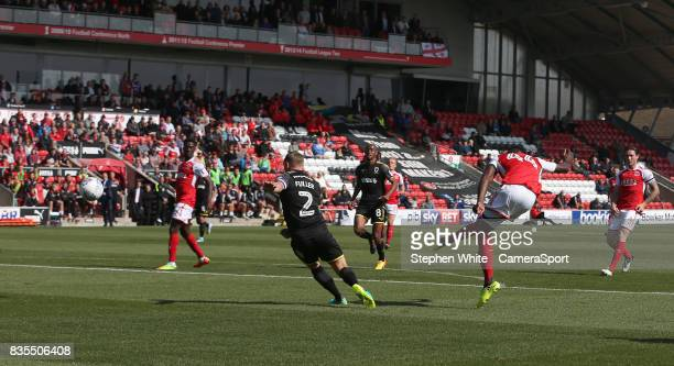 Fleetwood Town's Devante Cole scores the opening goal during the Sky Bet League One match between Fleetwood Town and AFC Wimbledon at Highbury...