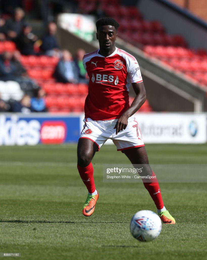 Fleetwood Town's Jordy Hiwula during the Sky Bet League One match between Fleetwood Town and A.F.C. Wimbledon at Highbury Stadium on August 19, 2017 in Fleetwood, England.