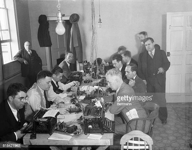 Flemington New Jersey Wires Ready For Hauptmann Trial The Press is ready for the Hauptmann murder trial Here is a view of the press set up in the...