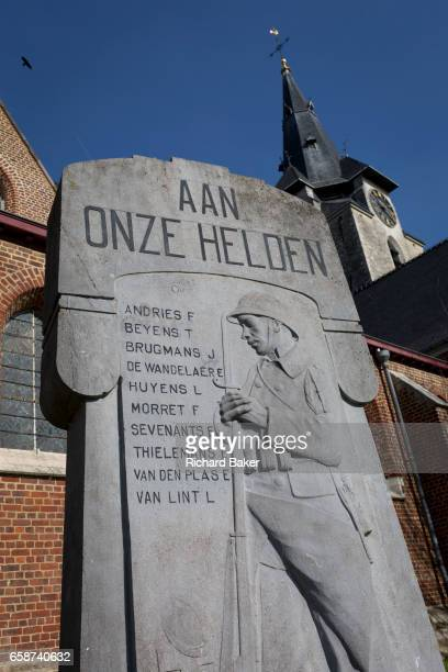 Flemish First World War village memorial to local men on 25th March at Saint Martin of Tours Church in Everberg Brabant Belgium