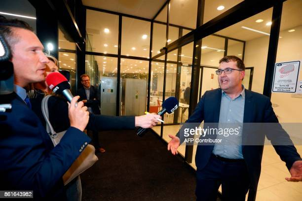 Flemish green party 'Groen' head candidate for the city hall of Antwerp Wouter Van Besien speaks to journalists at a press conference of the local...