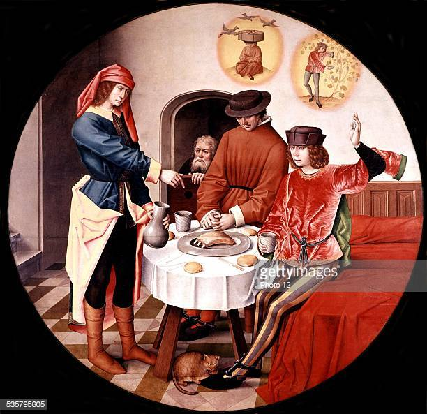 Flemish master Joseph interpreting the dreams of his prison companions 15th century Bible New York Metropolitan museum