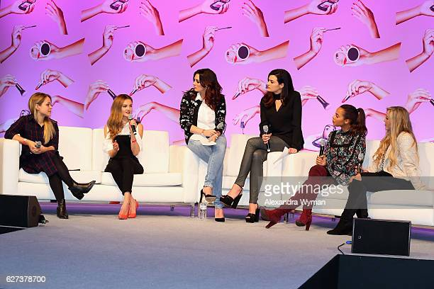 Fleur De Force Niomi Smart Nicola Haste and Sam Chapman AKA Pixiwoo Rochelle Humes and Megan Parken attend Beautycon Festival London 2016 at Olympia...