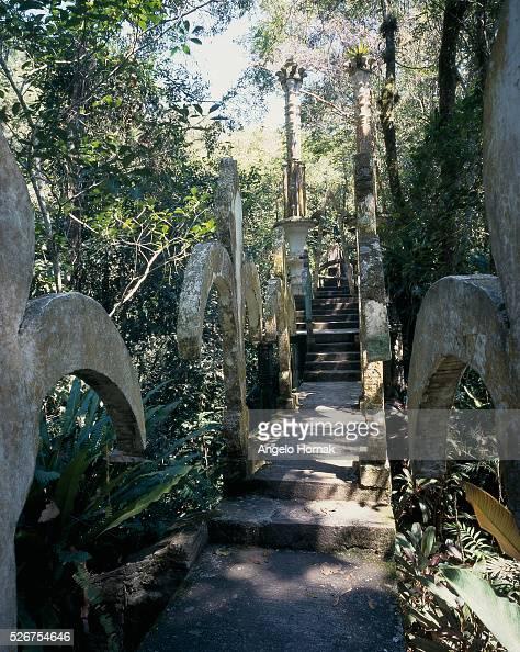 Fleur De Lys Bridge at Las Pozas Surrealist Sculpture Garden built of reinforced concrete in the 1960s and 1970s by Edward James in Xilitla Mexico