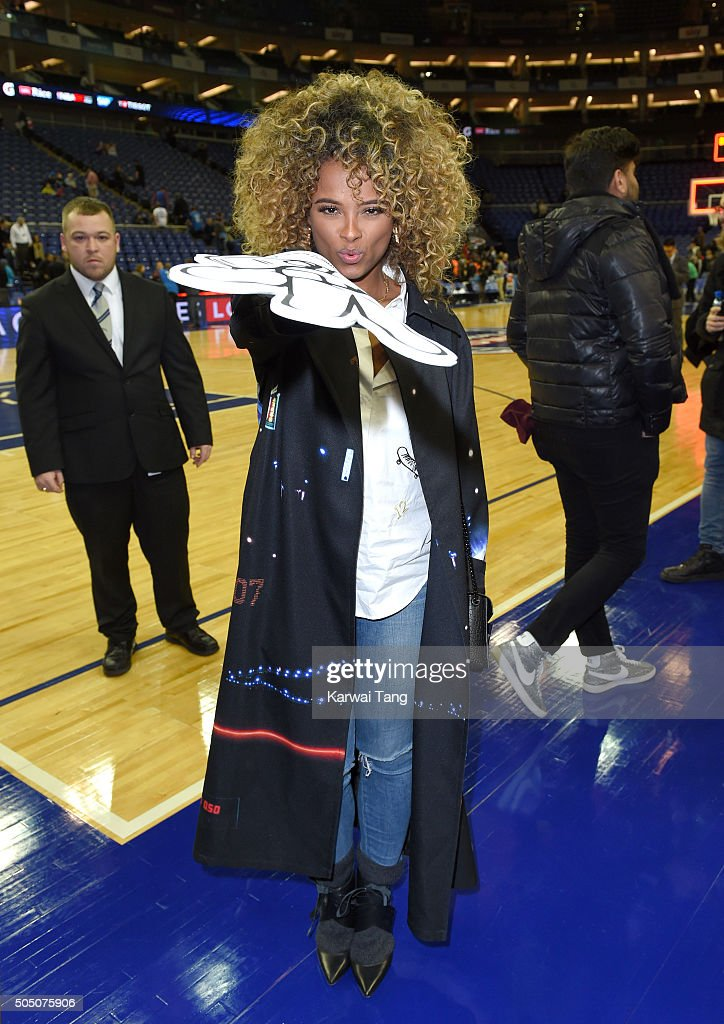 Fleur East attends the Orlando Magic vs Toronto Raptors NBA Global Game at The O2 Arena on January 14, 2016 in London, England.