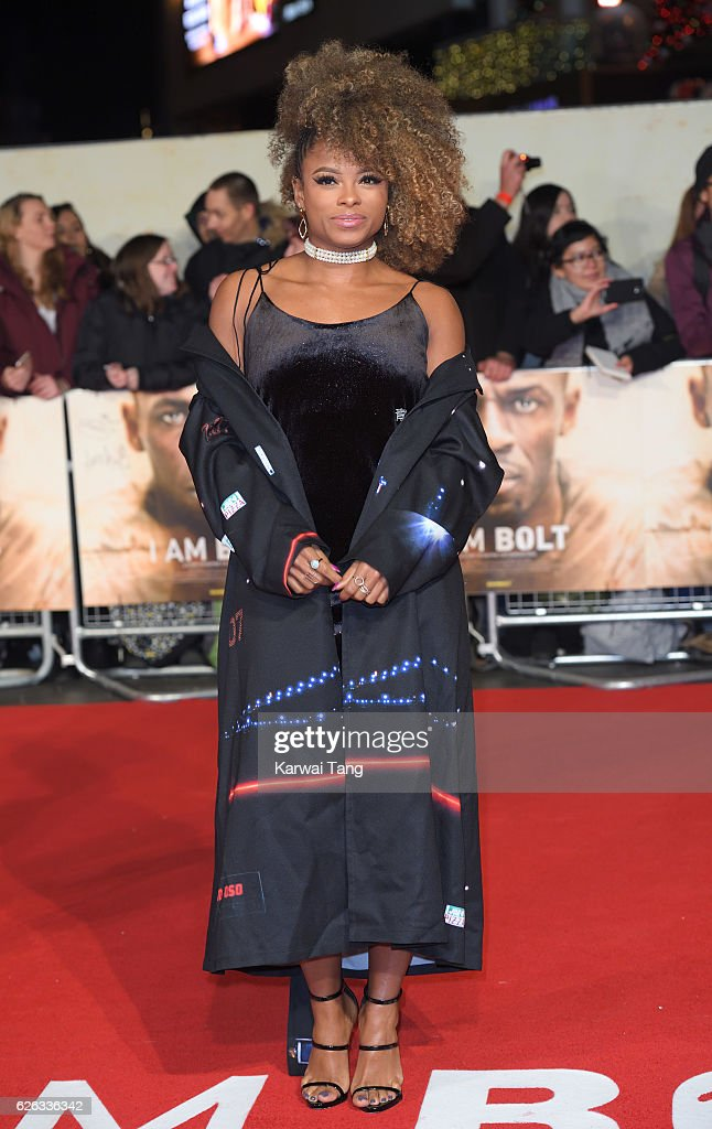 Fleur East attends the World Premiere of 'I Am Bolt' at Odeon Leicester Square on November 28, 2016 in London, England.