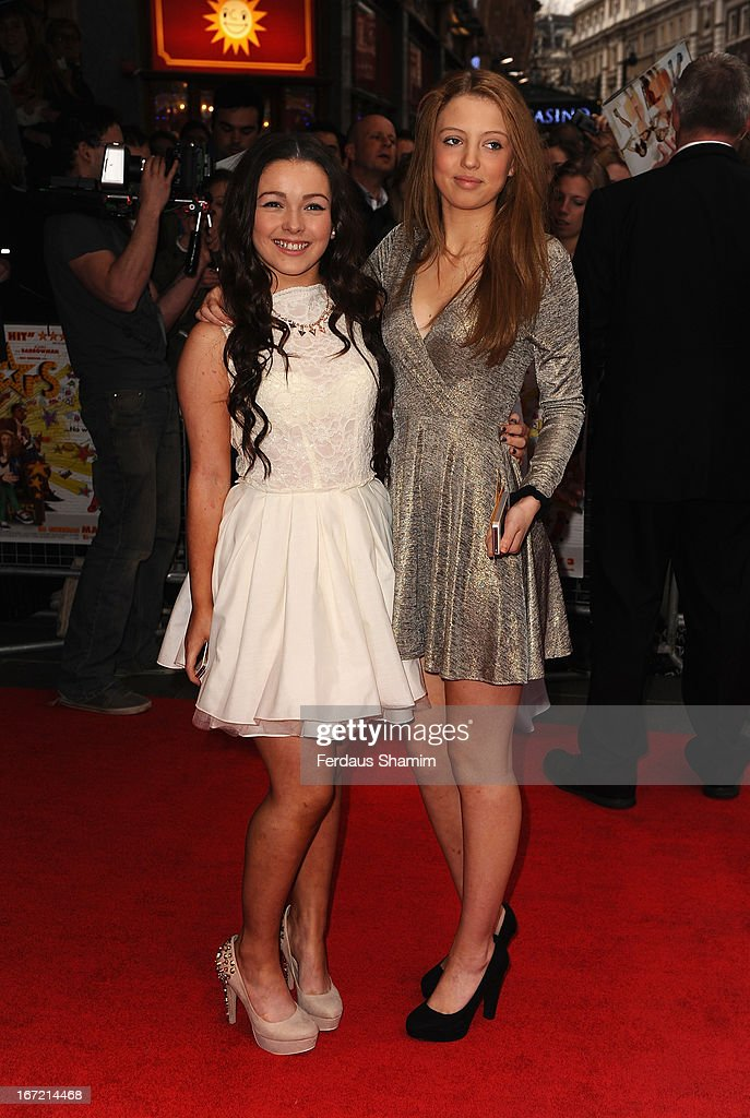 Fleur Houdijk and Amelia Clarkson attend the UK Premiere of 'All Stars' at Vue West End on April 22, 2013 in London, England.