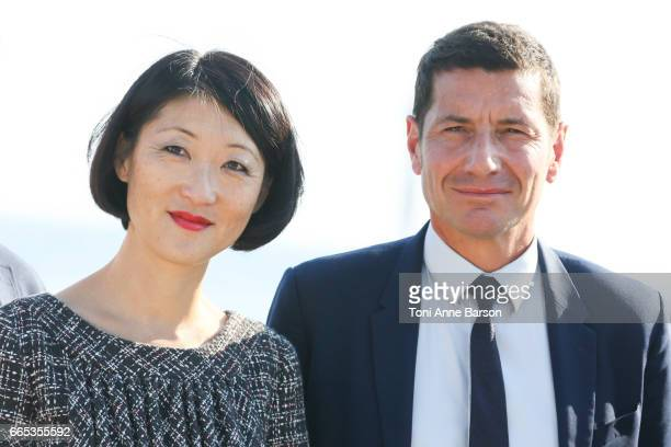 Fleur Pellerin and David Lisnard Cannes Mayor attend photocall for MIPTV 2017 Opening and New Cannes Television Series Festival launching in 2018 on...
