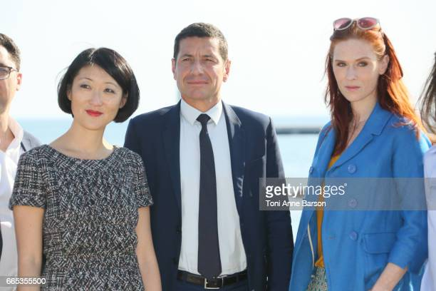 Fleur Pellerin David Lisnard Cannes Mayor and Audrey Fleurot attend photocall for MIPTV 2017 Opening and New Cannes Television Series Festival...