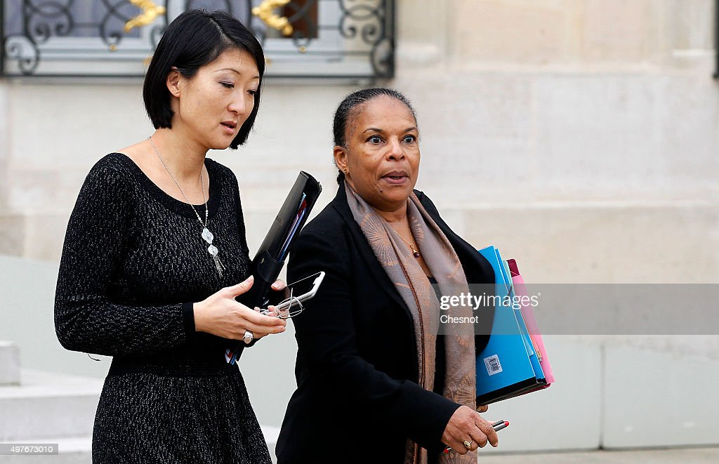 <a gi-track='captionPersonalityLinkClicked' href=/galleries/search?phrase=Fleur+Pellerin&family=editorial&specificpeople=8784076 ng-click='$event.stopPropagation()'>Fleur Pellerin</a>, French Culture Minister and <a gi-track='captionPersonalityLinkClicked' href=/galleries/search?phrase=Christiane+Taubira&family=editorial&specificpeople=3798541 ng-click='$event.stopPropagation()'>Christiane Taubira</a>, Keeper of the Seals, Minister of Justice leave after a meeting at the Elysee Presidential Palace on November 18, 2015 in Paris, France. It is the second cabinet meeting after Friday's terrorist attacks which left at least 129 people dead and hundreds more injured in Paris.
