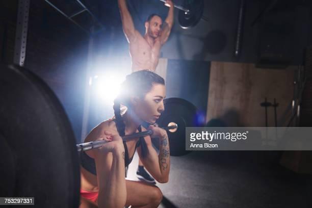 Flexible couple during gym session. Mielec, Poland
