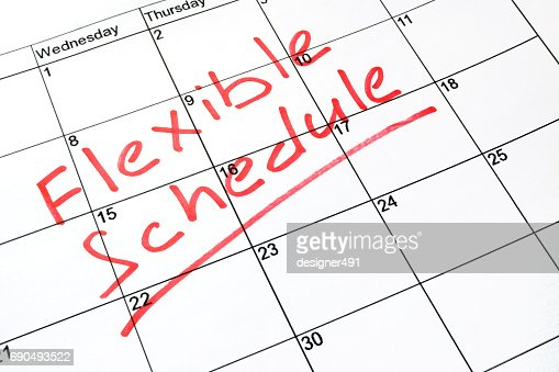 Flexible schedule written on a calendar. : Stock Photo