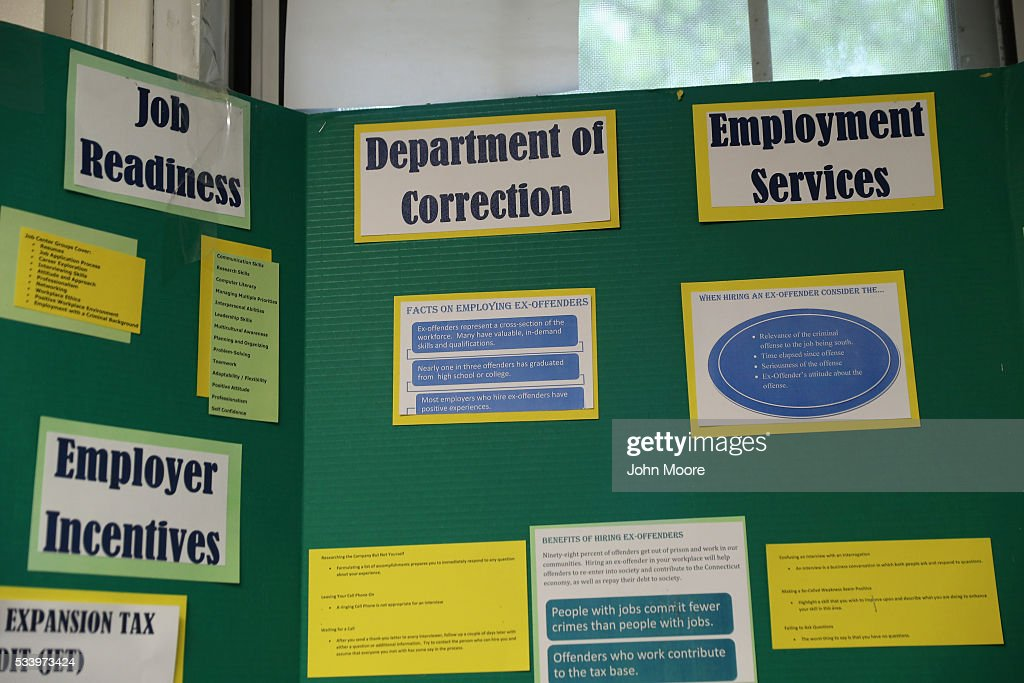 Fliers adversise employment information in the job center of the York Community Reintegration Center on May 24, 2016 in Niantic, Connecticut. The facility is part of the York Correctional Institution, which houses all of the states more than 1,000 female inmates. The unit is designed to prepare prisoners for successful reintegration into society after serving out their sentences. Criminal justice and prison reforms are taking hold with bi-partisan support nationwide in an effort to reduce prison populations, while saving taxpayer money. The state's criminal justice reforms are part of Connecticut Governor Dannel Malloy's 'Second Chance Society' legislation.