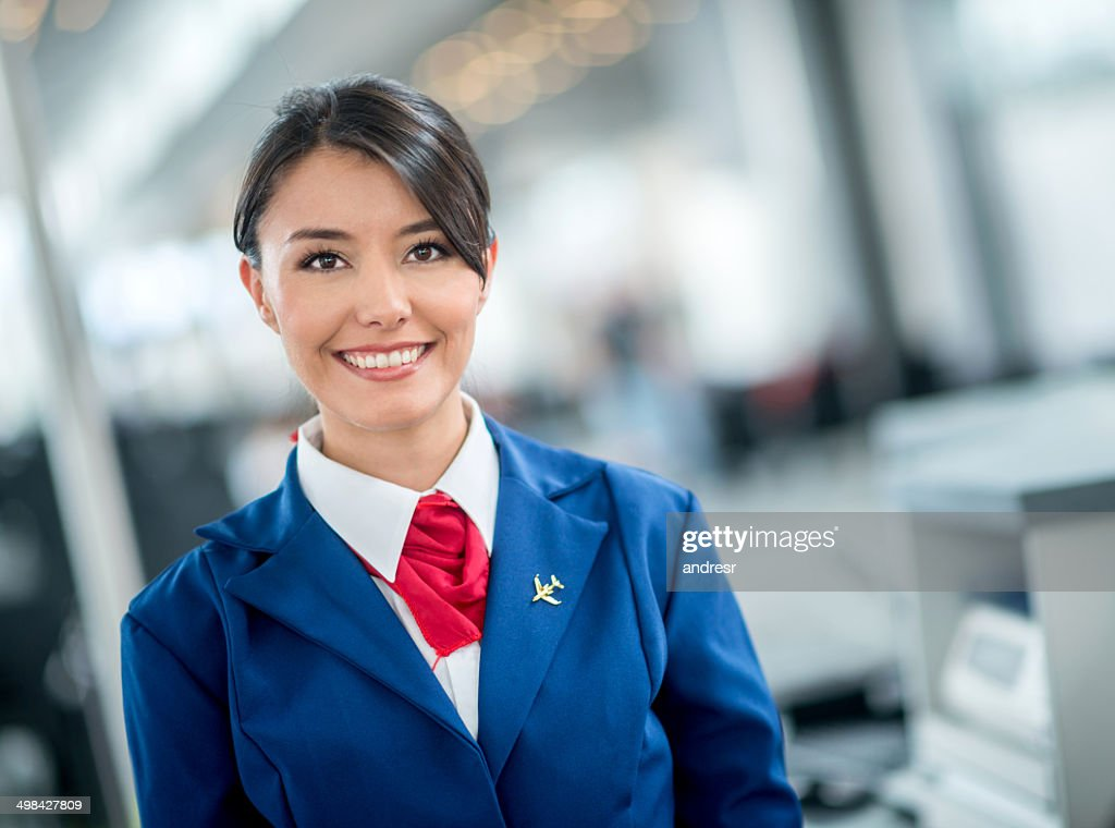 Flight attendant at the airport