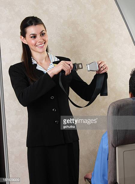 Flight Attendant Demonstrating Seat Belt