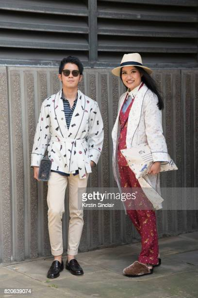 Flight attendant Pong Varot wears his own design top and trousers Gucci bag Dior sunglasses shoes from Tokyo with fashion editor Eksuda Vessakosol...
