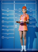 Flight attendant wearing 60's attire, holding tray with cup on it