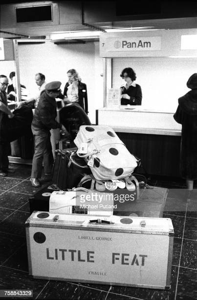 A flight case belonging to Lowell George amongst Little Feat's luggage at an airport on the Warner Brothers Music Tour of Europe January 1975