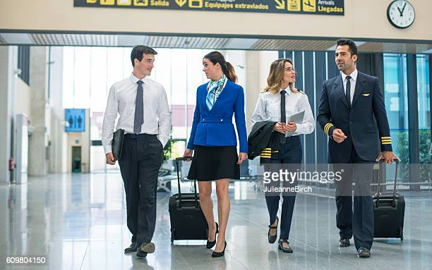 Flight crew walking through airport