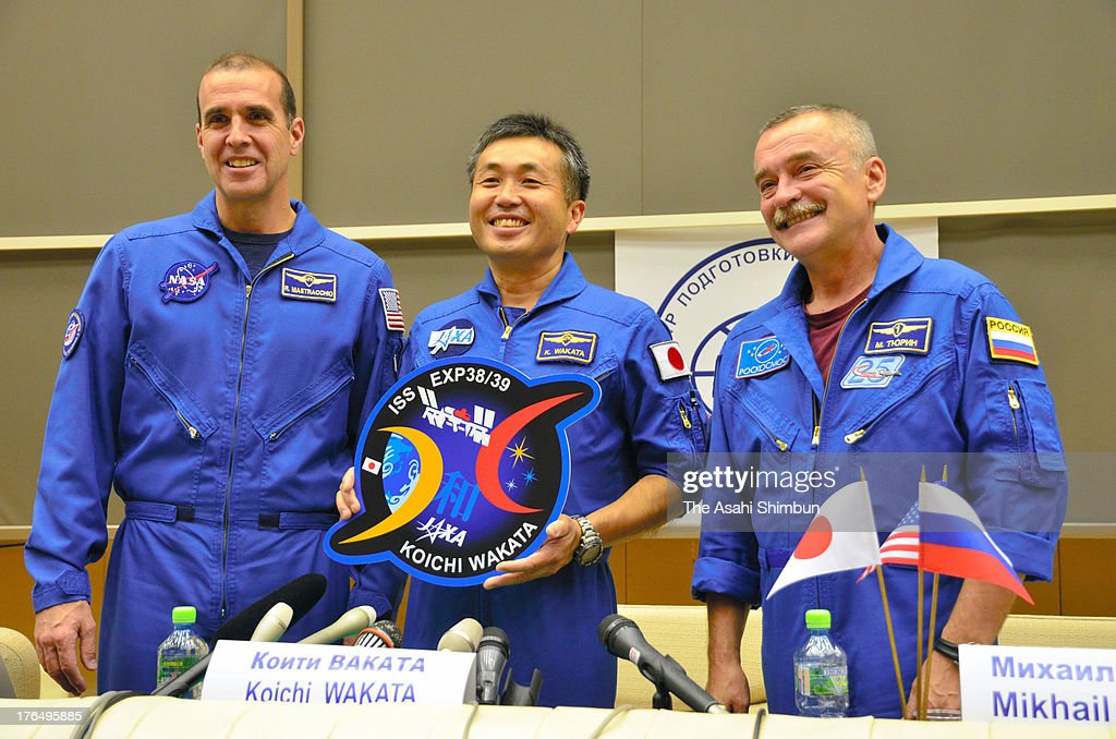 Flight Engineer Richard Mastracchio of USA, Commander <a gi-track='captionPersonalityLinkClicked' href=/galleries/search?phrase=Koichi+Wakata&family=editorial&specificpeople=220363 ng-click='$event.stopPropagation()'>Koichi Wakata</a> of Japan and Flight Engineer Mikhail Tyurin of Russia attend a press conference at Yuri Gagarin Cosmonaut Training Center on August 12, 2013 in Moscow, Russia. Wakata is appointed as the commander of Expedition 39 of the International Space Station (ISS), that will launch in November.