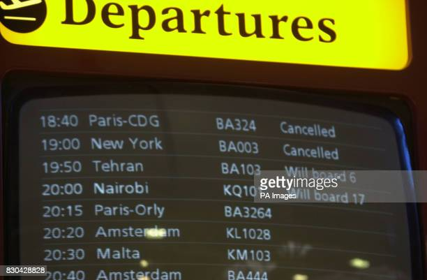 Flight information monitors at London's Heathrow International Airport showing the cancellation of BA Concorde flight 003 to New York after an Air...