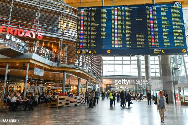 A flight information screen at Gardermoen Oslo Airport the main international airport serving Oslo On Tuesday August 8 in Gardermoen Norway