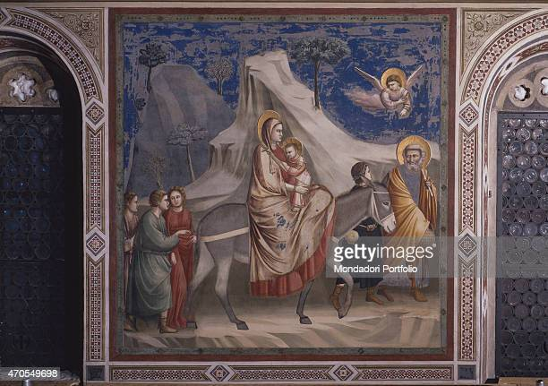 'Flight into Egypt by Giotto 13031305 14th Century fresco Italy Veneto Padua Scrovegni Chapel After restoration picture Whole artwork view The Holy...