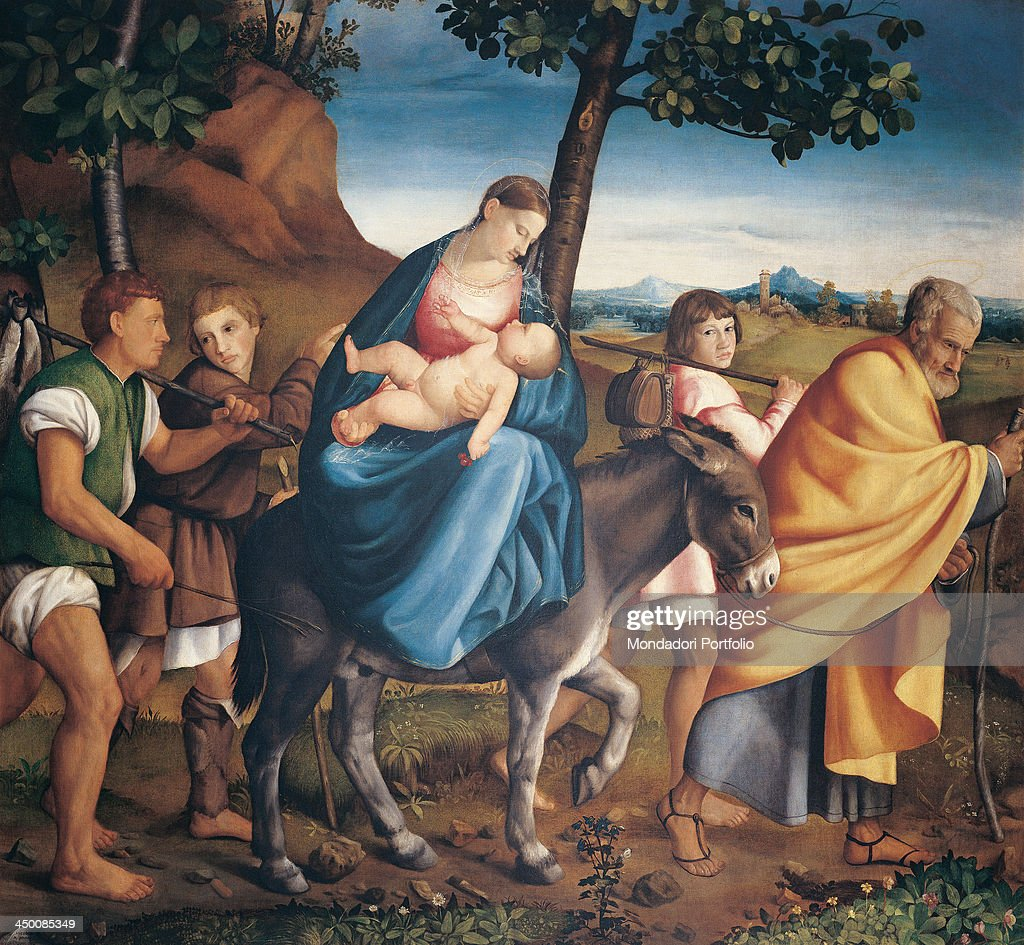 Flight into Egypt by Jacopo da Ponte known as Bassano 16th Century oil on canvas 183 x 198 cm