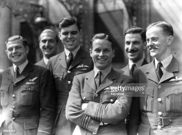 Wing Commander Guy Gibson VC with members of his squadron whom he led on the 'dambusters' raid on the Mohne and Eder dams