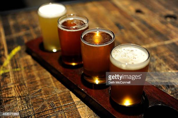 A flight of beers at Joyride Brewing Co in Edgewater Colorado on July 31 2014 Joyride Brewing Co opened it's doors three weeks ago and offers a...