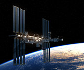Flight Of International Space Station Over The Earth. 3D Illustration.
