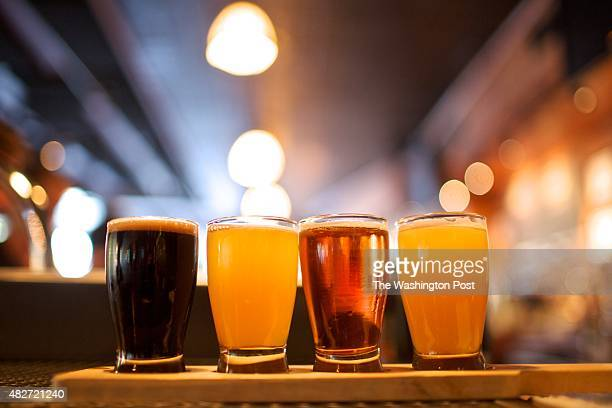 A flight of tasters is served up at the bar at Meridian Pint in Columbia Heights According to the restaurant's general manager Drew Swift half of the...