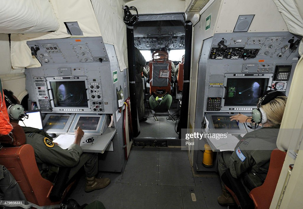 Flight Officer Imray Cooray and Flight Officer Brittany Sharpe on board a Royal Australian Airforce AP3C Orion from Pearce Airforce Base during a...