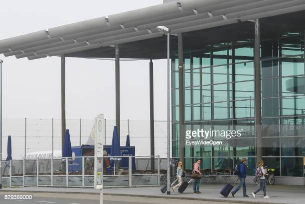 Flight passengers at the Airport Weeze where Ryan Air offers flights to Sardinia on September 08 2014 in Weeze Germany