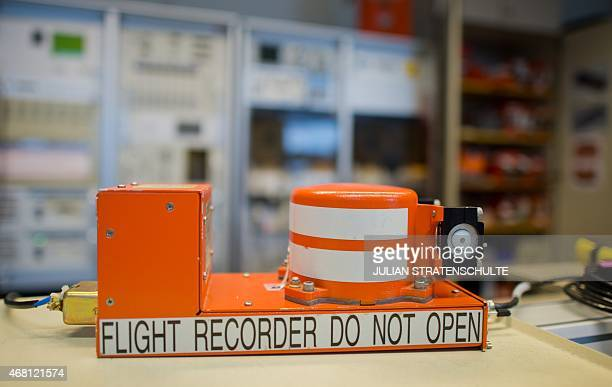 A flight recorder is seen at the German Federal Bureau of Aircraft Accident Investigation in Braunschweig central Germany on March 30 2015 French...