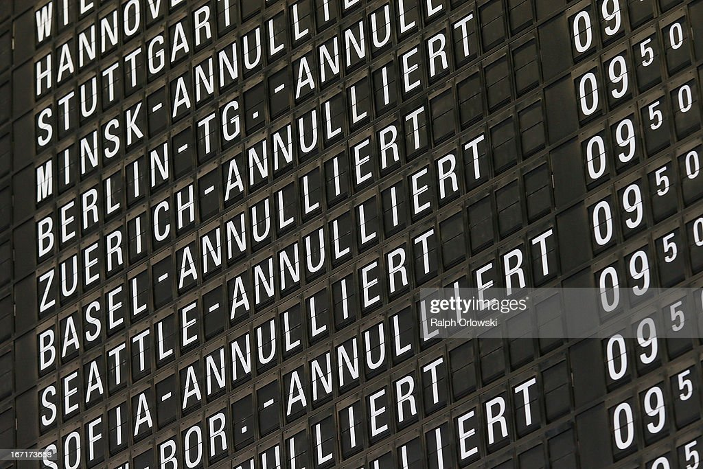 A flight schedule informs about cancelled Lufthansa flights during a nationwide protest of Lufthansa ground personnel at Frankfurt Airport on April 22, 2013 in Frankfurt, Germany. Workers are demanding pay raises and job guarantees and today's strike has forced Lufthansa to cancel approximately 1700 flights.