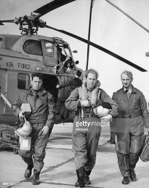 Flight Sergeant J Green Flight Lieutenant L Thompson and Master Navigator J Patterson The flight crew of a RAF Westland Whirlwind Search and Rescue...