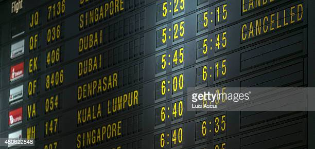 Flightboard is seen at Melbourne International Airport showing Virgin Australia VA054 flight from Bali has been cancelled for today on July 14 2015...