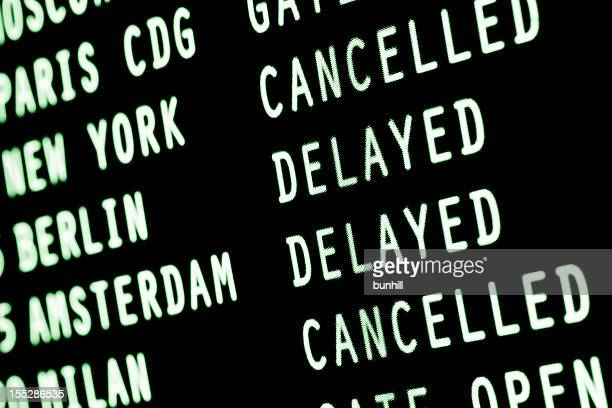 flights cancelled & delayed - airport arrivals departures information screen