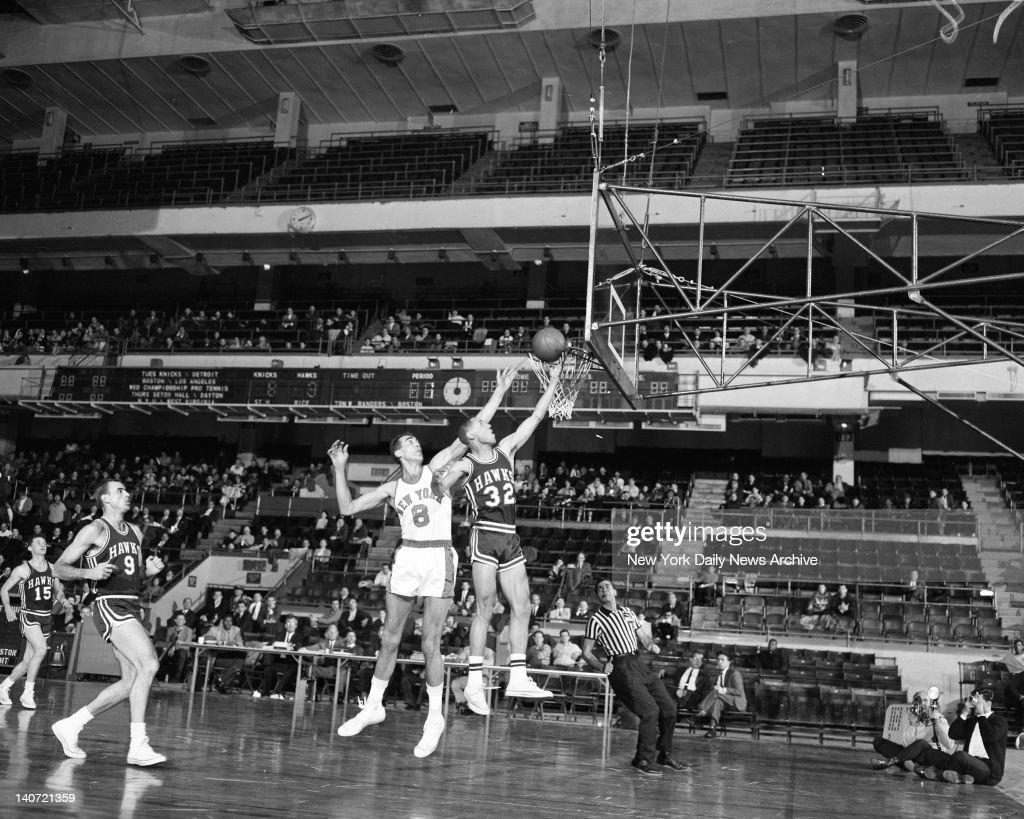 Flighty Hawk Rookie Lenny Wilkens of Hawks s inside Knicks