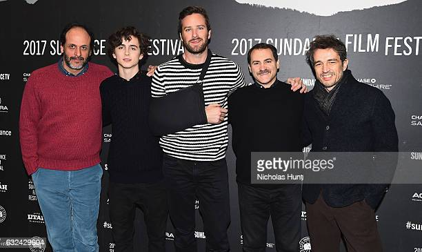 Flimmaker Luca Guadagnino Timothee Chalamet Armie Hammer Michael Sthlbarg and Walter Fasano attend the 'Call Me By Your Name' Premiere on day 4 of...