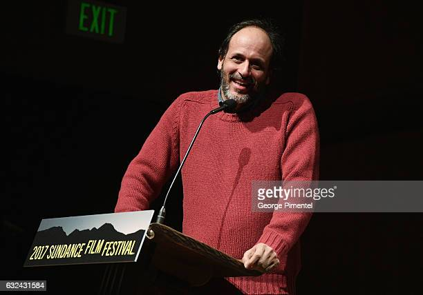 Flimmakers Luca Guadagnino speaks at the 'Call Me By Your Name' Premiere on day 4 of the 2017 Sundance Film Festival at Eccles Center Theatre on...
