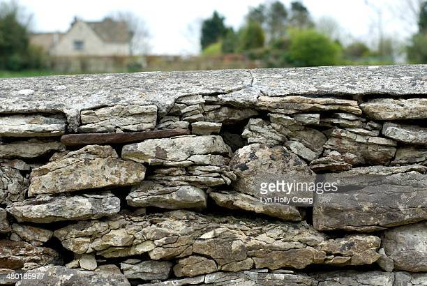 Flint dry stone wall